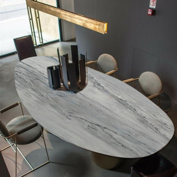 Grigio Calacatta Ellipse Office Table