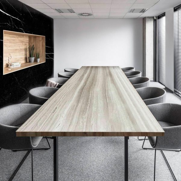 Silver Grey Rectangle Office Table