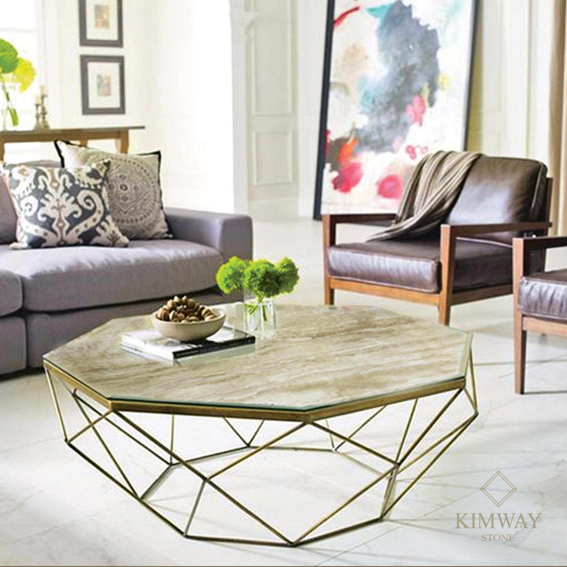 Dyno Beige Octagon Coffee Table Kimway Stone Granite Marble