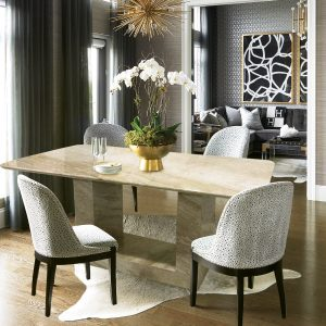 Dyno Beige Rectangle Full Marble Dining Table