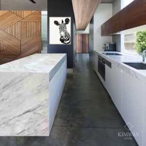 Volakas White Kitchen & Island